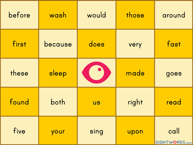Sight Words Bingo Board