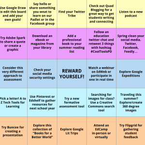 Summer Learning Bingo Board