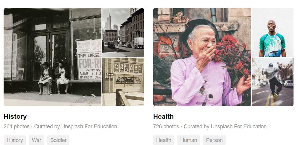 Unsplash for Education images